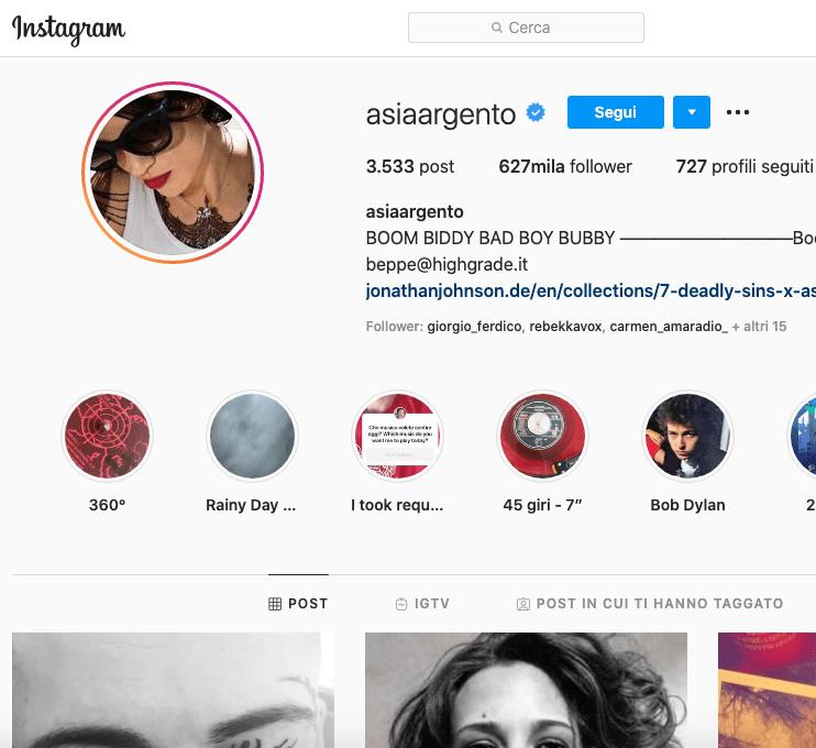 Asia Argento Instagram 1 segreto