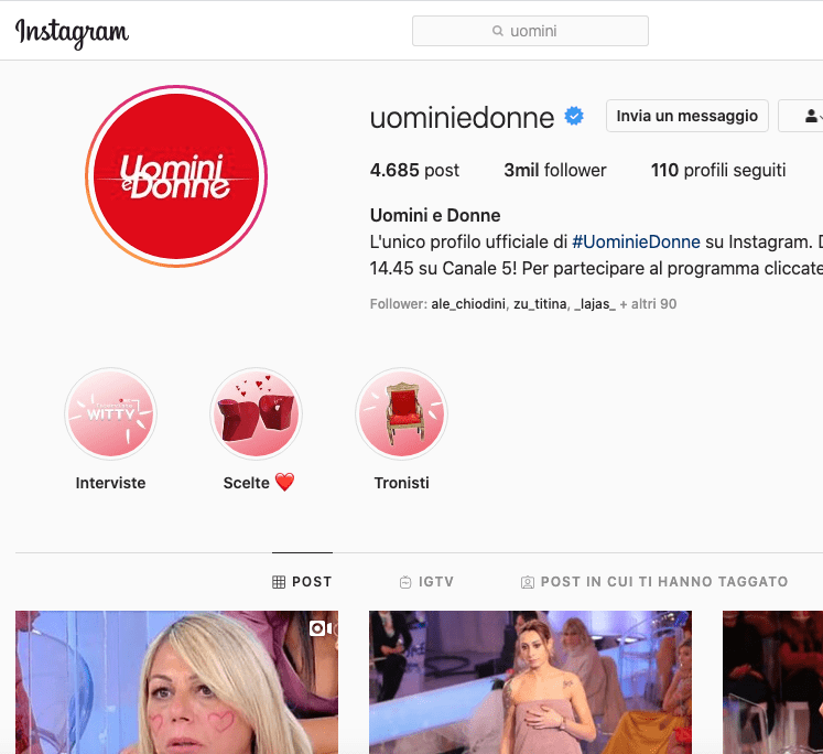 Uomini e Donne Instagram: una pagina da 3 milioni di follower